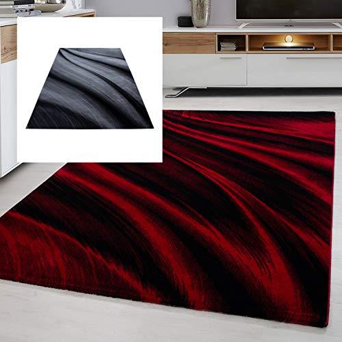 Ayyildiz Teppich modern Designer Wohnzimmer Abstrakt Muster Rot oder Schwarz, Farbe:Rot, Größe:160 x 230 cm