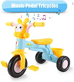 qiaoniuniu Kids' pedal Tricycles music rider trikes bike with a big rear basket for children age 2-8 Years Kids great gifts for boys girls birthday Maximum Weight 75 kg