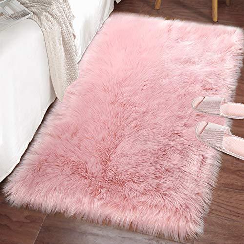 LOCHAS Ultra Soft Fluffy Rugs Faux Fur Sheepskin Area Rug for Bedroom Bedside Living Room Carpet Nursery Washable Floor Mat, 2x3 Feet Pink