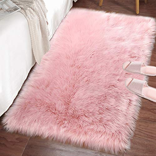 LOCHAS Ultra Soft Fluffy Rugs Faux Fur Sheepskin Area Rug for Bedroom Bedside Living Room Carpet Nursery Washable Floor Mat, 2x3 Feet Pink