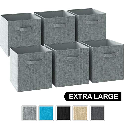 13x13x13 Large Storage Cubes - Set of 6 Storage Bins | Features Dual Handles | Cube Storage Bins | Foldable Closet Organizers and Storage | Fabric Storage Box for Home and Office (Grey)