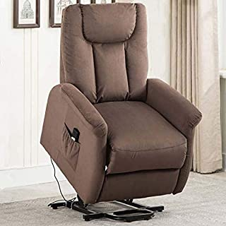 CANMOV Power Lift Recliner Chair for Elderly- Heavy Duty and Safety Motion Reclining Mechanism-Antiskid Fabric Living Room Chair with Plush Padding Seat, Brown-02