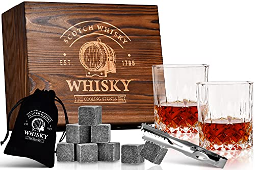 Edles Whisky Gläser & Steine Geschenkset in PREMIUM Holzkiste   Whiskey Kühl-Steine in Holzbox   Whisky Zubehör Set Edel inkl Specksteine Zange Gläser uvm. ideales Männer Geschenk in Geschenkbox