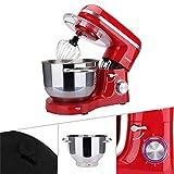 AREBOS - Robot de cocina | accesorios cocina | 1500 W | Cuenco de acero inoxidable de 6 l | Varillas | Gancho para amasar | Batidor y protección contra salpicaduras | Batidora | Batidora reposteria