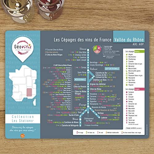 Mapa de los vinos / juego de mesa 'Station' Valle del Ródano y sus cepas 30 x 40