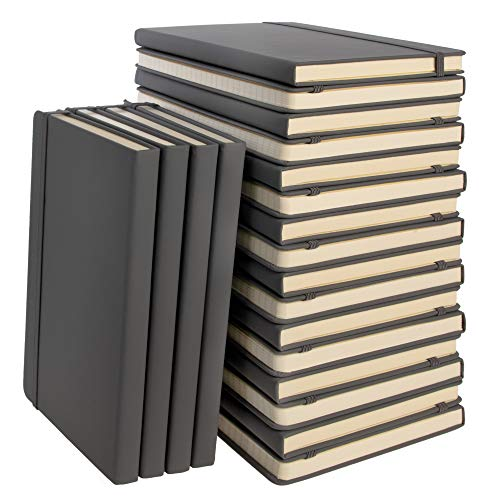"""Simply Genius (20 Pack) A5 Hardcover Leatherette Journals to Write in for Women, Faux Leather Journal for Men, Writing Journal Notebook Lined, 192pg Ruled, 5.7"""" x 8.4"""", Gray"""