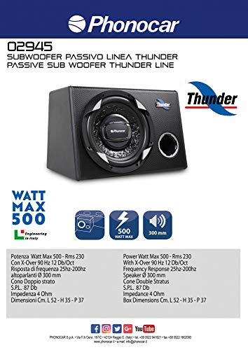 PHONOCAR 02945 Subwoofer Thunder 300 mm 500 W