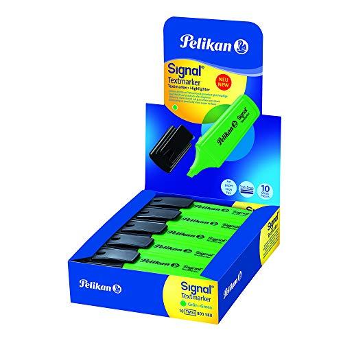 Pelikan Evidenziatori, Signal, Verde, Confezione Risparmio da 10 Pezzi, Cappuccio con Clip, Prodotto in Germania