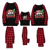 Pijamas de Navidad Familia 2021 Conjunto Pantalon y Top Pijamas Mujer Hombre Invierno Impresión a cuadros Christmas Manga Larga Ropa de Dormir 2 Piezas Bebés Niños Niña Mamá Papá Homewear Romper