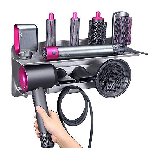 Haartrocknerhalter für Dyson Supersonic, für Organizer Ablageboden 2in1 Wandhalterung Passend für Lockenwickler Diffusor Zwei Düsen für Badezimmer Schlafzimmer Friseursalon Barbershop