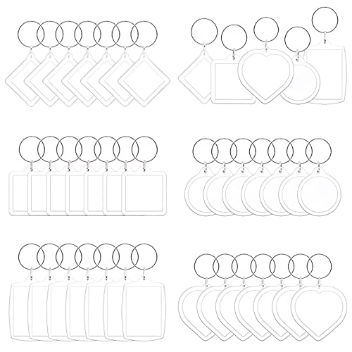 Keadic 40 Pcs Acrylic Photo Frame Keyring Assortment Set, Personalized Clear Blank Photo keychain Holder, Heart, Rectangle, Round, Square, Rhombus Picture Keychains as Gift,Suit for Artwork