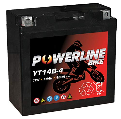 YT14B-4 Powerline AGM Motorcycle Battery 12V 14Ah YT14B4