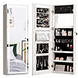 CHARMAID Jewelry Cabinet with LED Touch Screen Mirror, 47.5'' Wall/Door Mounted Jewelry Armoire with Full Length Mirror, Large Storage, Lockable Jewelry Organizer Armoire (White)
