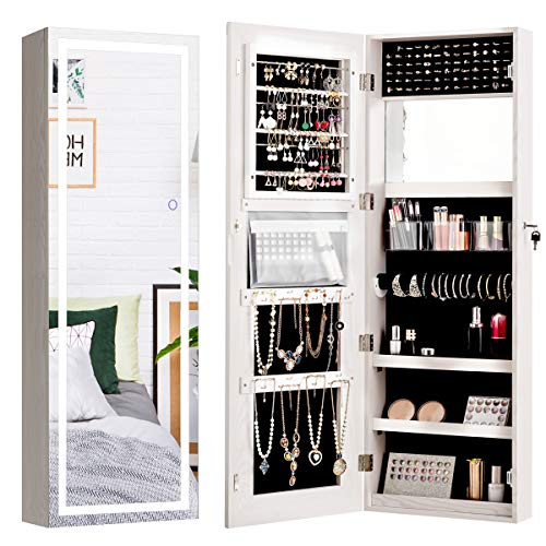 CHARMAID Jewelry Cabinet with LED Touch Screen Mirror 475'' WallDoor Mounted Jewelry Armoire with Full Length Mirror Large Storage Lockable Jewelry Organizer Armoire White
