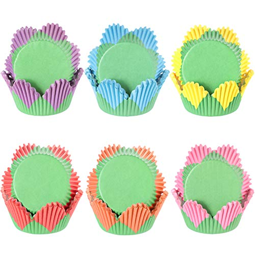 Newtay 600 Pieces Mother's Day Cupcake Liners Colorful Petal Shaped Cupcake Baking Cups Wrappers Paper Wraps Muffin Case Trays Cupcake for Mother's Day Father's Day Birthday Party Decor