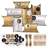 CENXINY Calendrier de l'Avent, 24 Noël Calendrier Boites Cadeau Sacs en Papier avec 24 Autocollants Numérotés - Calendrier de l'avent Maison Guirlande de Cadeaux de Noël (Or et Argent)