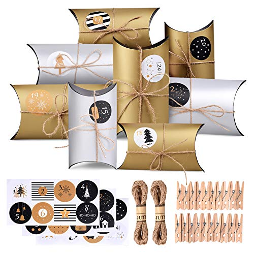 CENXINY Adventskalender zum Befüllen 24 STK Adventskalender Schachteln Golden und Silber, Weihnachtskalender Kapazität 12,8 * 9,5 * 4,5cm, 10M Hanfseil, 24 Zahl-Aufkleber und 24 Klammer Mitgeliefert