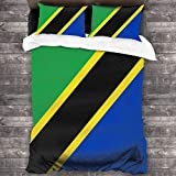 ZHYY 3-Piece Bedding Set The United Republic of Tanzania Flag Comfy Luxury Duvet Cover Set with 1 Quilt Set and 2 Pillowcase 86x70inch