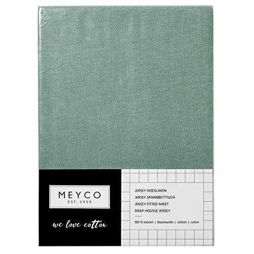 Meyco Jersey Spannbetttücher Spannbettlaken 70x140 / 150 cm (1er Pack, Stone Green)