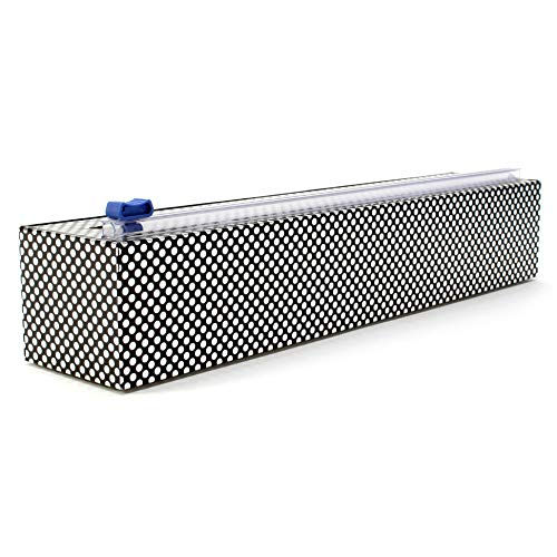 Chicwrap Silver Dots Refillable Plastic Wrap Dispenser/Slide Cutter and 250' of Professional BPA Free Plastic Wrap