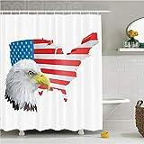 ZLWSSA 3D Wasserdicht Duschvorhang Fliegende Vögel Adler Profil Mit Amerikanischer Flagge Hintergr& Traumland Gejagt Karte Dom Dekorative Polyester Bad 150x180cm