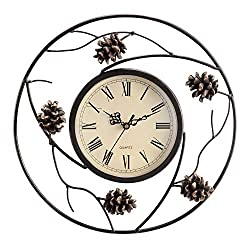 SPI Home Pinecone Wall Clock, White, 2.5 x 12.5 x 12.5