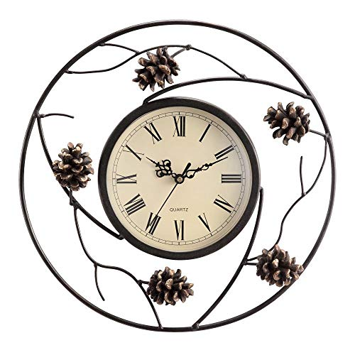 SPI Home Pinecone Wall Clock, White, 2.5