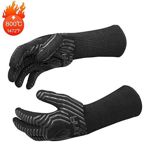 AngLink Grillhandschuhe, BBQ Handschuhe Ofenhandschuhe bis zu 800°C 1 Paar...