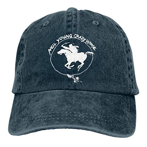 Lucyhu Neil Young Crazy Horse - Gorra de béisbol ajustable para hombre y mujer, visera plana azul marino Talla única