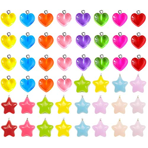 50 Pieces Gummy Candy Heart Charms Gummy Candy Star Charms Beads Keychains Earring Pendant for DIY Jewelry Crafts Supplies