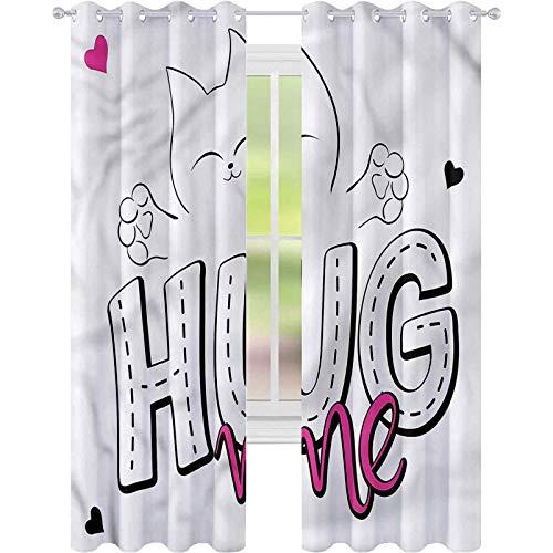 Cortina de ventana con citas abrazar a mí divertido gatito de dibujos animados W42 x L72 cortina de oscurecimiento para sala de estar