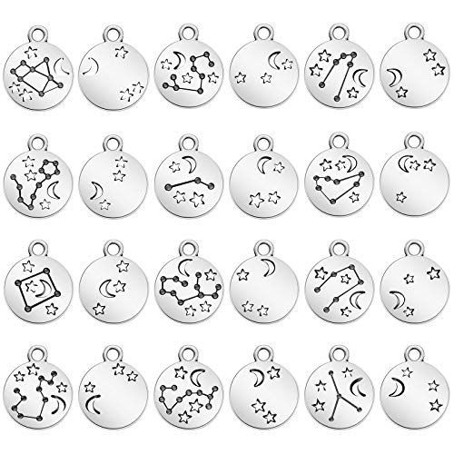 72 Pieces Zodiac Round Charms Metal Double Sided Charms 12 Charm Pendants...