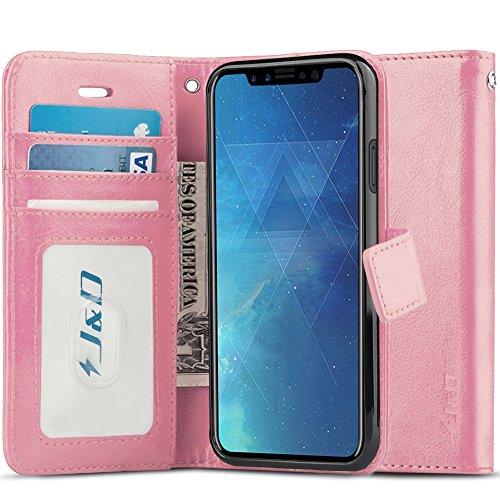 J&D Compatibile per Cover iPhone X, [RFID Blocco Portafoglio] [Sottile Adatta] Protettiva Robusta Antiurta Flip Custodia per iPhone X - Rosa