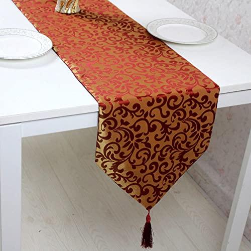 AAPOY Tischläufer 1 Stücke Vertikal Gold Rot Tischläufer Länge Hotelbett Flagge Tischset Couchtisch Betttuch 33 * 180Cm