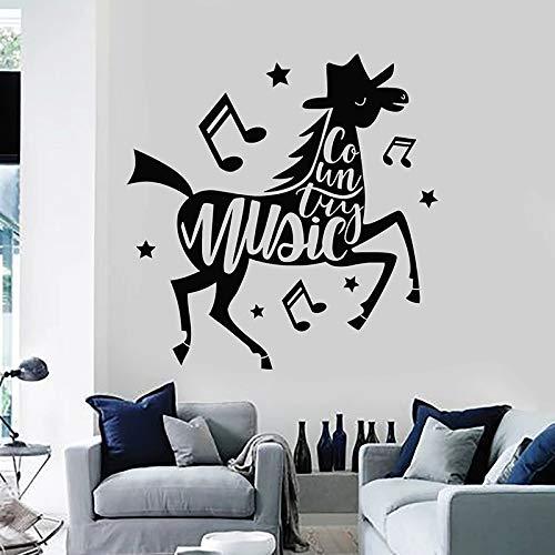 SUPWALS Wandtattoos Pferd Kreative Wandtattoo Country Musik Notizen Vinyl Fenster Aufkleber Musical Studio Kinderzimmer Kinderzimmer Home Decor Wallpaper 74X75Cm