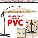 habeig WASSERDICHT Ampelschirm 3m Beige durch PVC Schirm 300cm Sonnenschirm