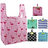 Foldable Reusable Grocery Bags Bulk 5 Cute Designs Folding Shopping Tote Bag Fits in Pocket Eco...