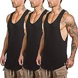ZUEVI Men's Muscular Cut Open Sides Tank Tops Bodybuilding T-Shirts(Black3Pack-XL)