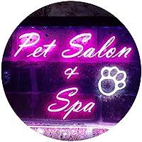 Pet Salon and Spa Illuminated Dual Color LED看板 ネオンプレート サイン 標識 白色 + 紫 300 x 210mm st6s32-i0593-wp