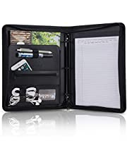 OOWOLF Padfolio Portfolio Folder, PU Leather Professional with Round Ring Binder 8.5 x 11 Inch Writing Pad Tablet Sleeve Interview Resume Document Organizer Business Card Holder Zippered Closure