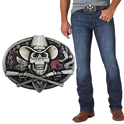 XGALA Western Cool Ghost Skeleton Cowboy Skull Rifles Guns Belt Buckle For Mens