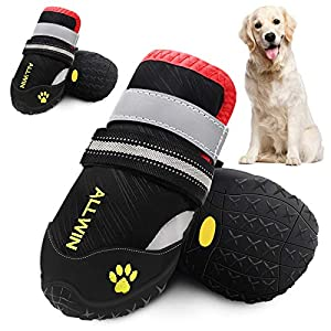 ALLWIN Dog Boots for Medium and Large Dogs – Waterproof Dog Shoes Pet Paw Booties with Reflective Straps Non Slip Sole Outdoor Big Dog Snow Boot for Winter Warm 4PCS