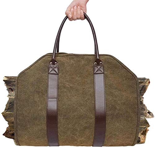 Firewood Carrier Outdoor Leather Tote Camping Carry Bag Canvas Firewood...