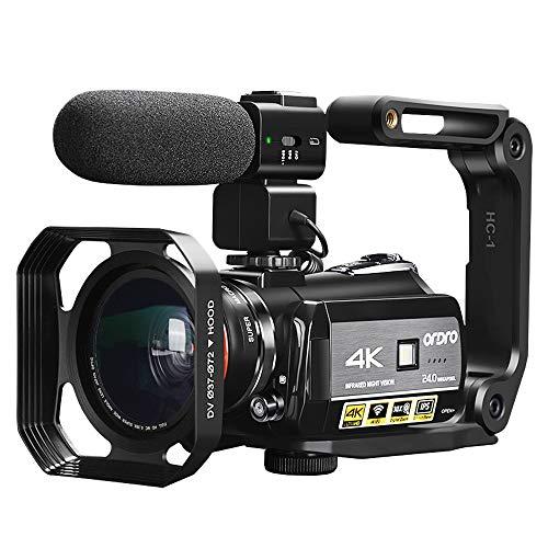 ORDRO Videocámara 4k Cámara de Video de Visión Nocturna 1080P 60FPS Grabador de Video WiFi con Micrófono, Lente Gran Angular, Soporte para Cámara y Tarjeta SD de 32GB
