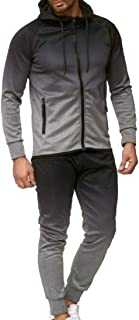 Men Packwork Gradient Print Zip Long Sleeve Hooded Sweatshirt Pants Set Tracksuit