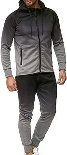 Men Tracksuit Set Packwork Print Sweatshirt Top Pants Gradient Outfits Sport
