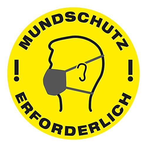 """VITAdisplays Bodenschild als Hygiene Hinweis """"Mundschutz erforderlich"""" Aufkleber aus Vinyl (30 x 30 cm), Gelb, Schwarz"""
