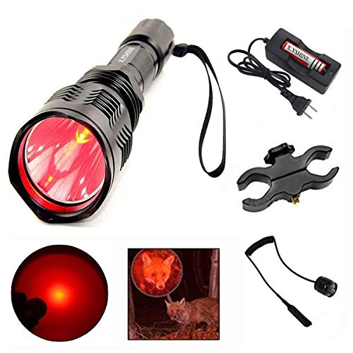X.YSINE LED Hunting Flashlight, HS-802 250 Yards Cree Q5 Coyote Hog Red Light Flashlight with Remote Tactical Pressure Switch+ Barrel Mount+ 18650 Rechargeable Battery+ Charger for Hunting, Fishing