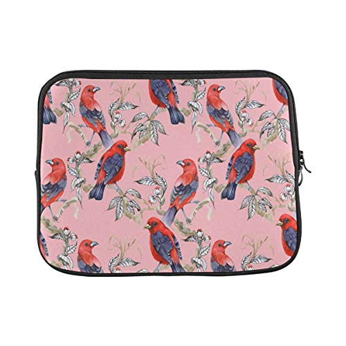 INTERESTPRINT Laptop Protective Carrying Bag Wild Exotic Birds on Twig and Wildflowers Notebook Sleeve Pouch Case Bag 11 Inch 11.6 Inch