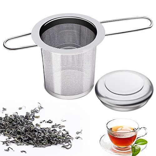 Ealicere 1 Stück Edelstahl Tee-Sieb für losen Tee, Premium Teesieben mit Faltbare Griffgestaltung, Teefilter mit Deckel, Teesieb Teefilter/Abtropfschale für Teekannen, Tee-Tassen